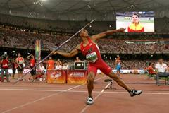 Ashton Eaton in the decathlon javelin at the IAAF World Championships, Beijing 2015 (Getty Images)