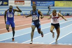 Justin Gatlin winning the men's 60m final (Getty Images)