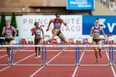 Kaliese Spencer winning the 400m hurdles at the 2014 IAAF Diamond League meeting in Monaco (Philippe Fitte)