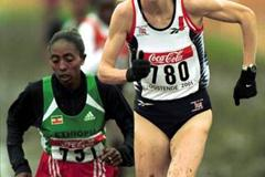 Wami and Radcliffe leading the women's short race in Ostend (© Allsport)