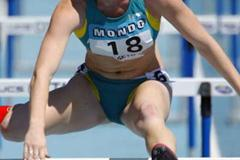 Sally McLellan of Australia competing in the 100m hurdles heats (Getty Images)