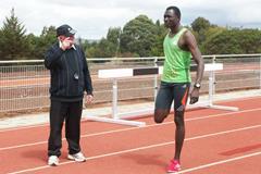 David Rudisha training in Kenya under the watchful eye of his coach, Colm O'Connell (Jürg Wirz)