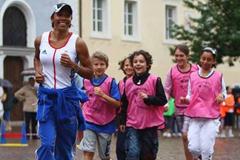 IAAF Ambassador Kelly Holmes during Kids' Athletics (Getty Images)
