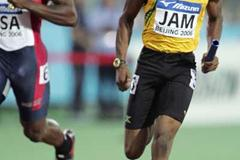 Yohan Blake of Jamaica crosses the finish-line to lead his country to victory in the men's 4x100m relay (Getty Images)