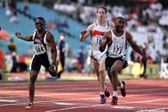The finish 100m men in Bydgoszcz (© Allsport)