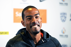 Christian Taylor at the press conference for the IAAF Diamond League meeting in Birmingham (Jean-Pierre Durand)