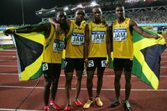Winning Jamaican team of the  men's 4x100m relay (Getty Images)