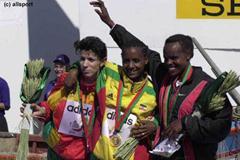 The medallists of the women's short race in Vilamoura (© Allsport)