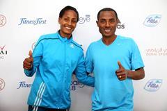 Aselefech Mergia and Kenenisa Bekele ahead of the 2015 Dubai Marathon (Giancarlo Colombo / organisers)
