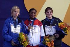 2001 World Championship Hammer - medal podium (Getty Images)