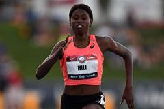 Candace Hill en route to the 2016 US U20 100m title in Clovis (Kirby Lee)