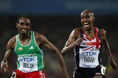 Ibrahim Jeilan of Ethiopia prevails over Mohamed Farah of Great Britain in a dramatic sprint finish in the men's 10,000m final (Getty Images)