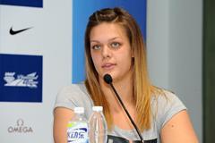 Sandra Perkovic ahead of the 2014 IAAF Diamond League meeting in Shanghai (Errol Anderson)