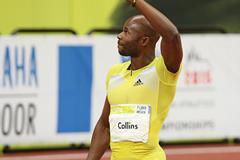 Kim Collins after winning the 60m (Pavel Lebeda)