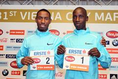 Getu Feleke and Henry Sugut ahead of the 2014 Vienna City Marathon (organisers / www.photorun.net)
