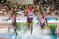 Milcah Chemos, winner of the 3000m Steeplechase at the 2013 Monaco Diamond League (Philippe Fitte)