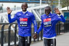 Wilson Kipsang and Dennis Kimetto ahead of the 2015 Virgin Money London Marathon (Getty Images)