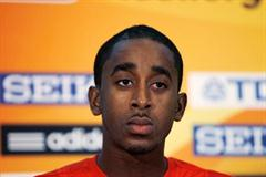 Jehue Gordon of Trinidad at the IAAF Press Conference in Moncton (Getty Images)