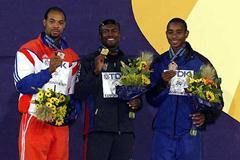 Dudley Dorival (Haiti) - right - with World championship bronze medal (Getty Images)