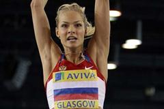 Darya Klishina jumping in Glasgow (Getty Images)
