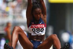 Tianna Madison of the US in the Long Jump qualifications (Getty Images)