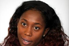 Shelly-Ann Fraser-Pryce at the pre-event press conference for the 2013 IAAF Diamond League meeting in Birmingham (Mark Shearman)