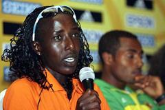 Lornah Kiplagat of the Netherlands at the IAAF Press Conference in Mombasa (Getty Images)