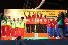 The women's team medallists in Birmingham (L-R) Ethiopia (silver), Kenya (gold) and Russia (bronze) (Getty Images)