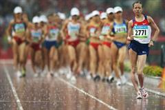 Olga Kaniskina of Russia makes an early break in the women's 20km walk (Getty Images)