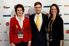 Irena Szewinska, David Cushnan (SportsPro Magazine) and Sally Bolton at the 2015 SportsPro Live Conference (SportsPro Media)