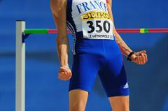 Gael LEVECQUE of France celebrates after clearing the bar on his way to winning the Boys High Jump final - Day Four - WYC Lille 2011 (Getty Images)