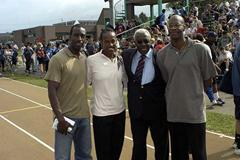 President Diack with Jackie Joyner Kersee, Michael Johnson and Edwin Moses (IAAF)