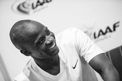 Nijel Amos speaks to the press in Monaco (Philippe Fitte / IAAF)