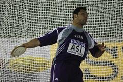 Koji Murofushi in his first Discus competition (Getty Images)