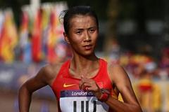 Hong Liu of China races to the finish line during the Women's 20km Walk of the London 2012 Olympic Games on the streets of London on August 11, 2012 (Getty Images)