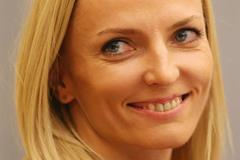 Anna Rogowska at the press conference in Sopot ahead of the 2014 IAAF World Indoor Championships (Getty Images)