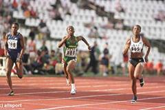 The finish of the women's 100m final in Bydgoszcz (© Allsport)