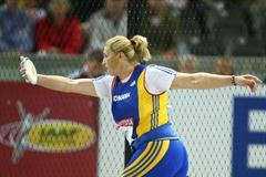 Nicoleta Grasu of Romania in action during the women's Discus Throw final (Getty Images)