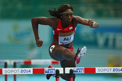 Nia Ali competes during the 2014 World Indoor Championships in Sopot ()