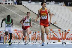 Pengfei Chu of China wins his 110 metres Hurdles heat on day one of the 14th IAAF World Junior Championships in Barcelona, Spain (Getty Images)