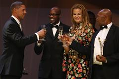 IAAF Hall of Fame members Dan o'Brien, Ed Moses, Stefka Kostadinova and Kip Keino at the IAAF Centenary Gala in Barcelona (Giancarlo Colombo)