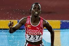 Dorcus Inzikuru of Uganda wins inaugural women's 3000m steeplechase at the 2005 IAAF World Championships (Getty Images)
