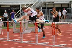 Nick Hough hurdling ()
