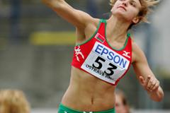 Aliona Hryshko of Belarus during the Shot Put qualification (Getty Images)