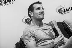 Renaud Lavillenie speaks to the press in Monaco (Philippe Fitte / IAAF)