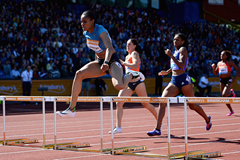 Kaliese Spencer wins the 400m hurdles at the IAAF Diamond League meeting in Birmingham (Getty Images)