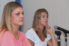Sandra Perkovic and Dafne Schippers ahead of the 2014 IAAF Diamond League final in Zurich (Jean-Pierre Durand)