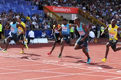 Nesta Carter, winner of the 100m at the Birmingham Diamond League (Mark Shearman)