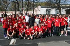Colin Jackson and Sergey Shubenkov at their hurdling master class in Barnaul (Luke Tchalenko)