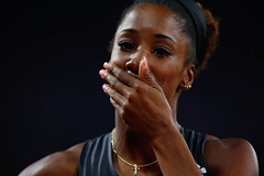 Kendra Harrison after breaking the world 100m hurdles record at the IAAF Diamond League meeting in London (Getty Images)